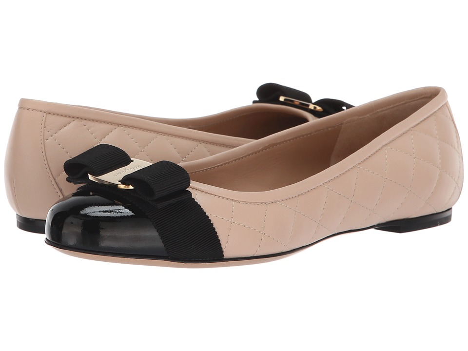 Salvatore Ferragamo Varinaq (Nero Patent) Women's Dress Flat Shoes