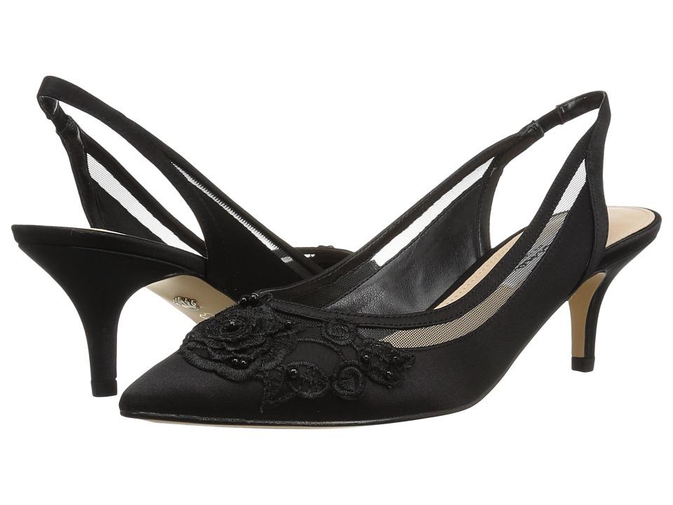 Nina Taela (Black Satin Rose Applique) 1-2 inch heel Shoes