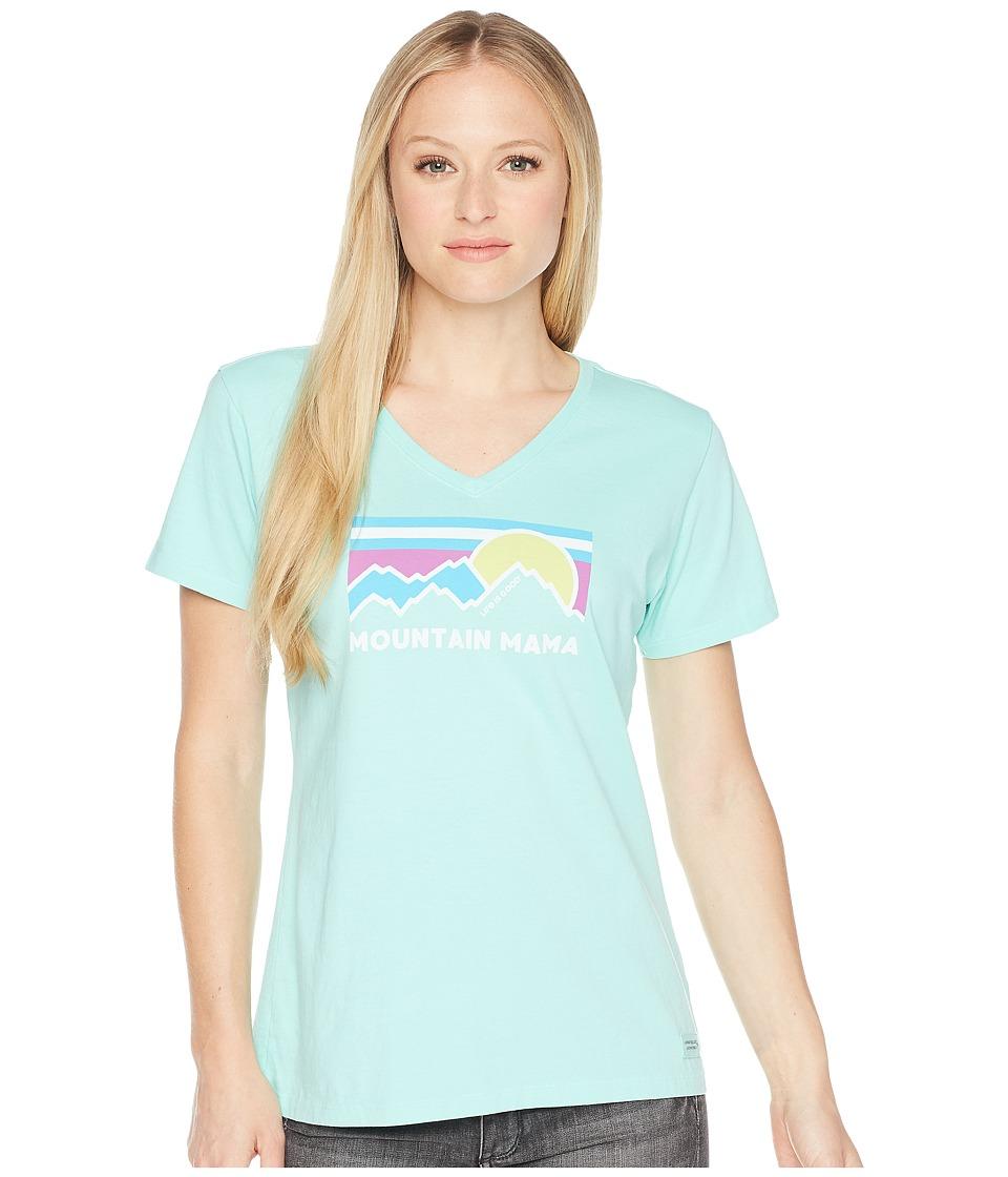 Life is Good - Mountain Mama Crusher Vee (Cool Aqua) Womens T Shirt