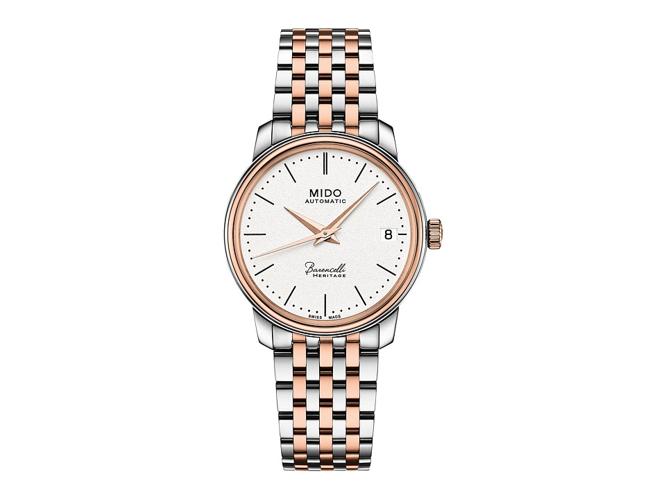 Mido - Baroncelli Heritage - M0272072201000 (White/Steel/Rosa PVD) Watches