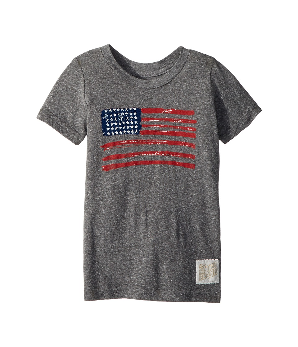 The Original Retro Brand Kids - Vintage Tri-Blend American Flag Tee (Toddler) (Streaky Grey) Boys T Shirt