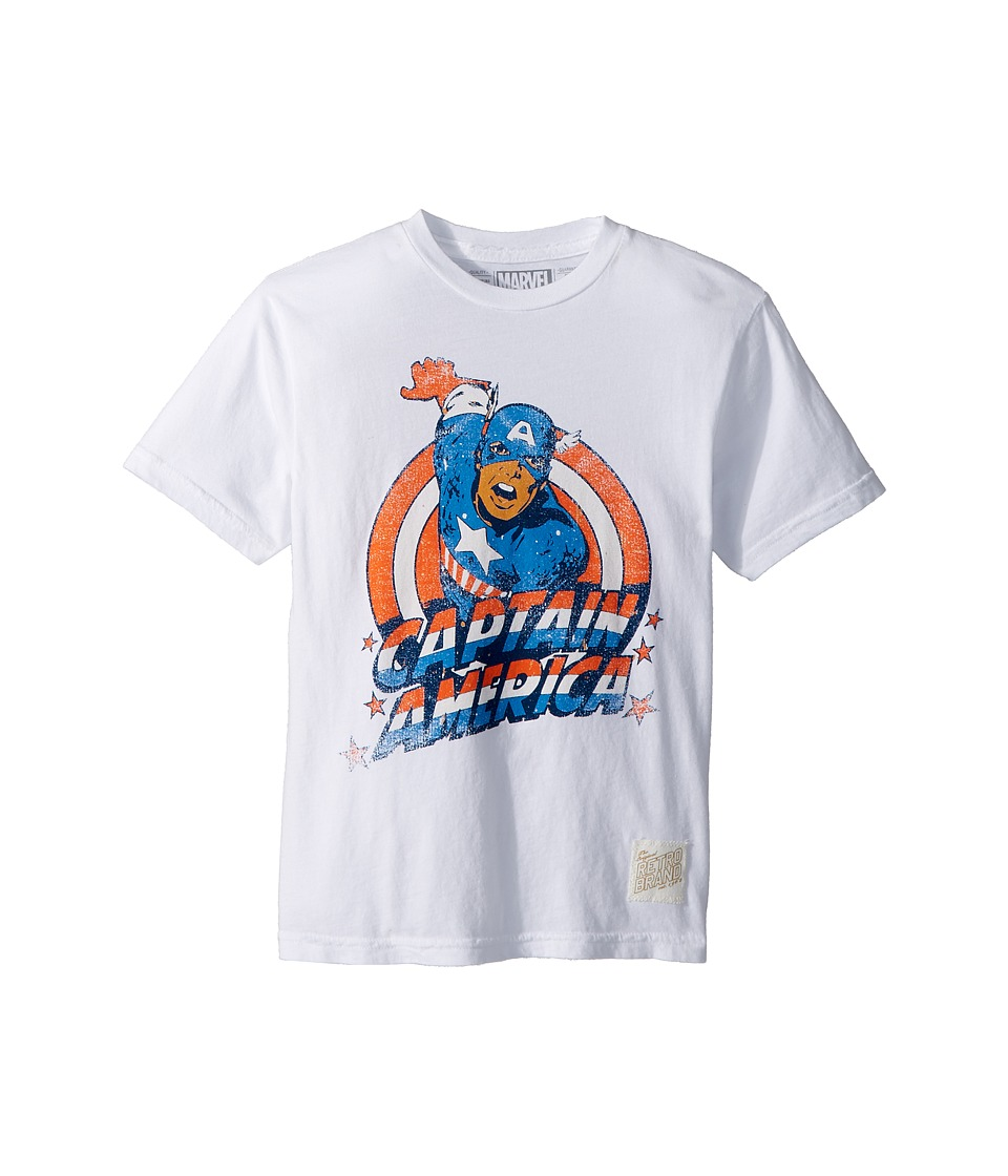 The Original Retro Brand Kids - Vintage Cotton Captain America Tee (Big Kids) (White) Boys T Shirt