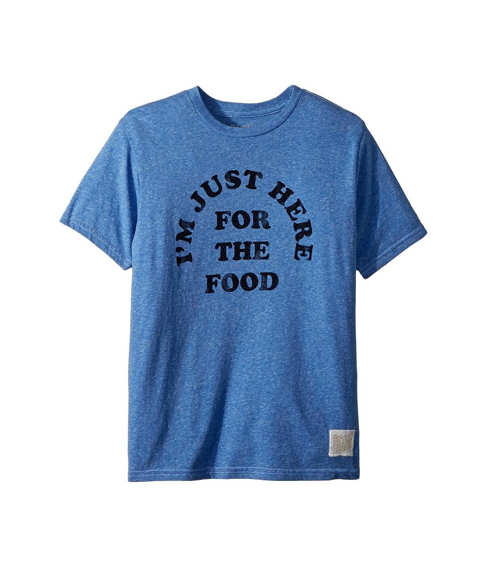 The Original Retro Brand Kids - Im Just Here for the Food Short Sleeve Tri-Blend Tee (Big Kids) (Streaky Royal) Boys T Shirt