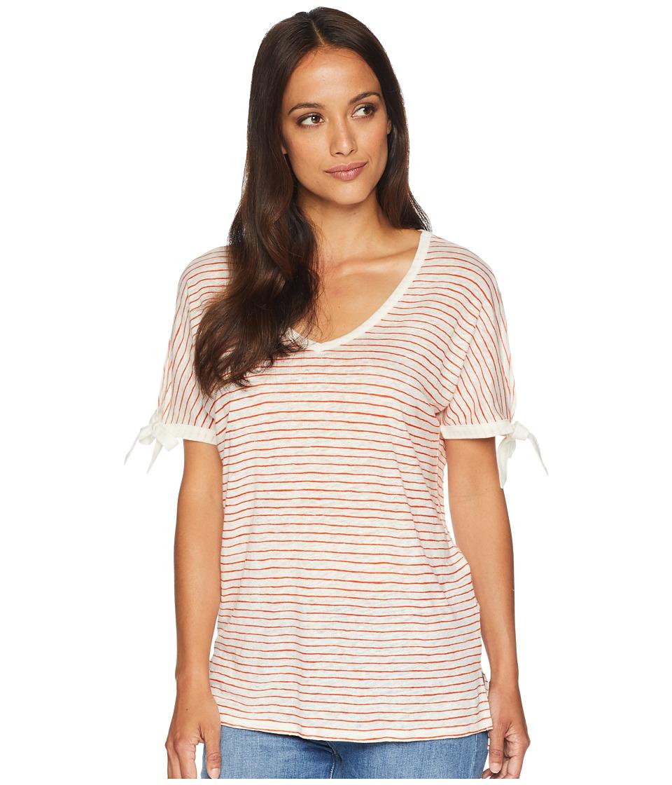 NYDJ - Printed Tie Sleeve V-Neck T-Shirt (Paint Stripe Blaze) Womens T Shirt