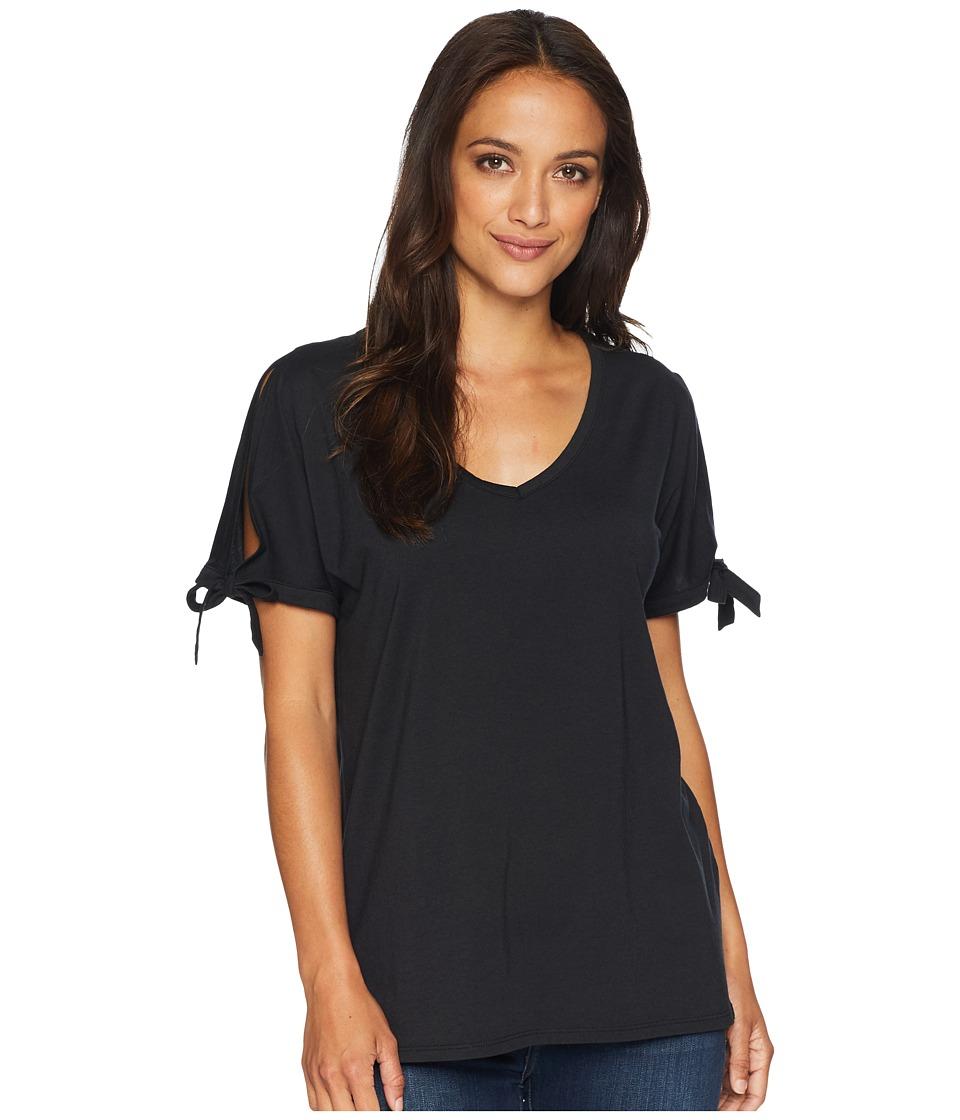 NYDJ - Tie Sleeve Tee (Black) Womens T Shirt