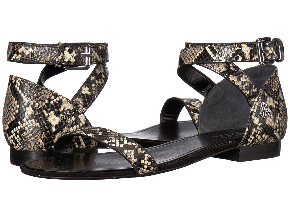 LAUREN Ralph Lauren Davison (Black/Cream Python Print) Women's Shoes