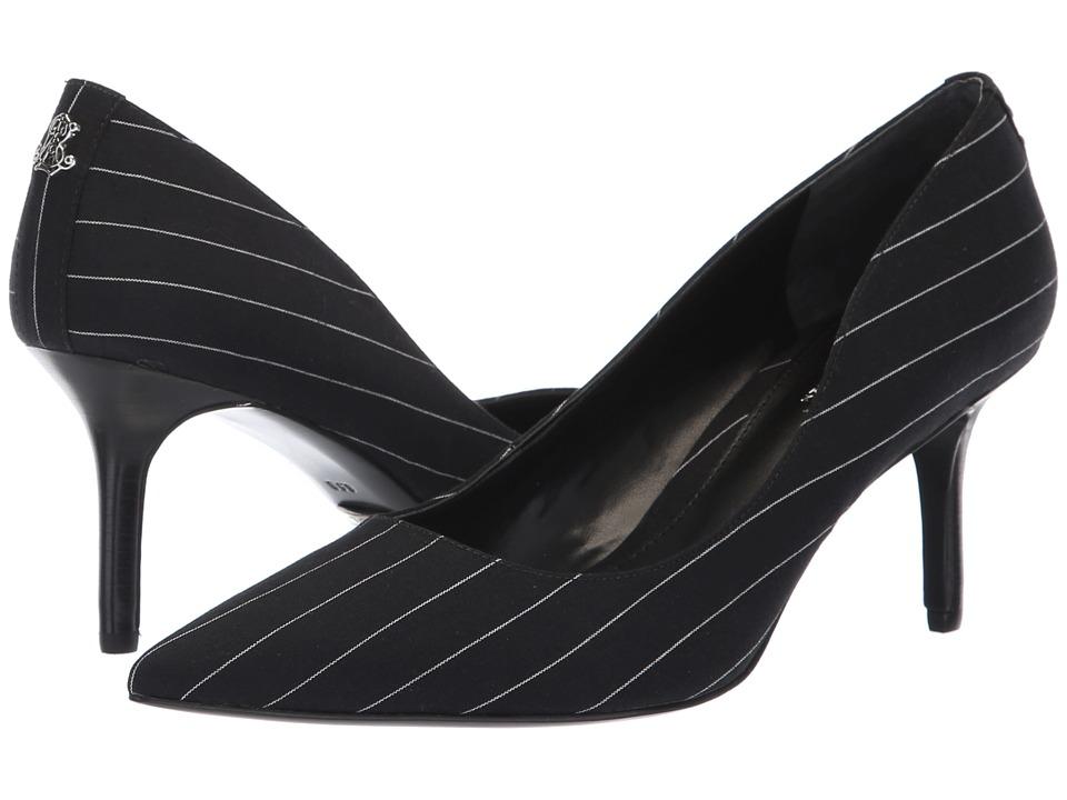 LAUREN Ralph Lauren Lanette II (Black/White Pinstripe Gabardine) Women's Shoes