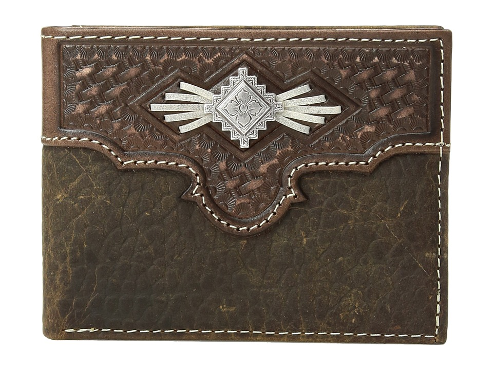M&F Western - Aztec Concho with Lace Bifold Wallet (Medium Brown) Wallet Handbags