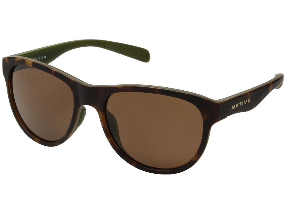Native Eyewear Acadia (Matte Dark Tort/Brown Polarized Lens) Athletic Performance Sport Sunglasses