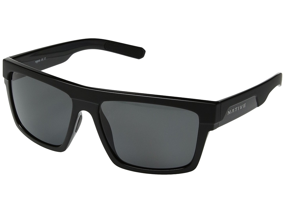 Native Eyewear El Jefe (Matte Black/Gloss Black/Gray Polarized Lens) Athletic Performance Sport Sunglasses