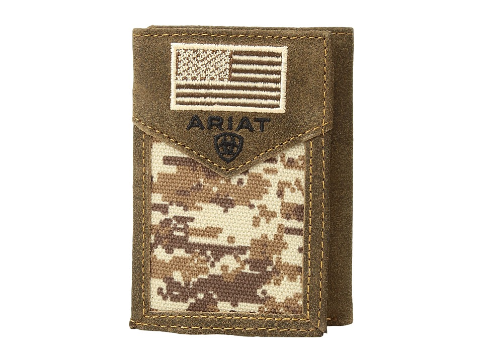 Ariat - Sport Patriot Trifold Wallet (Medium Brown) Wallet Handbags