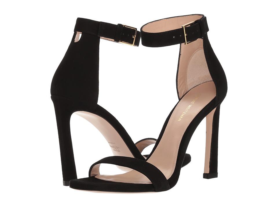 Stuart Weitzman 100squarenudist (Black Seda Suede) Women's Shoes