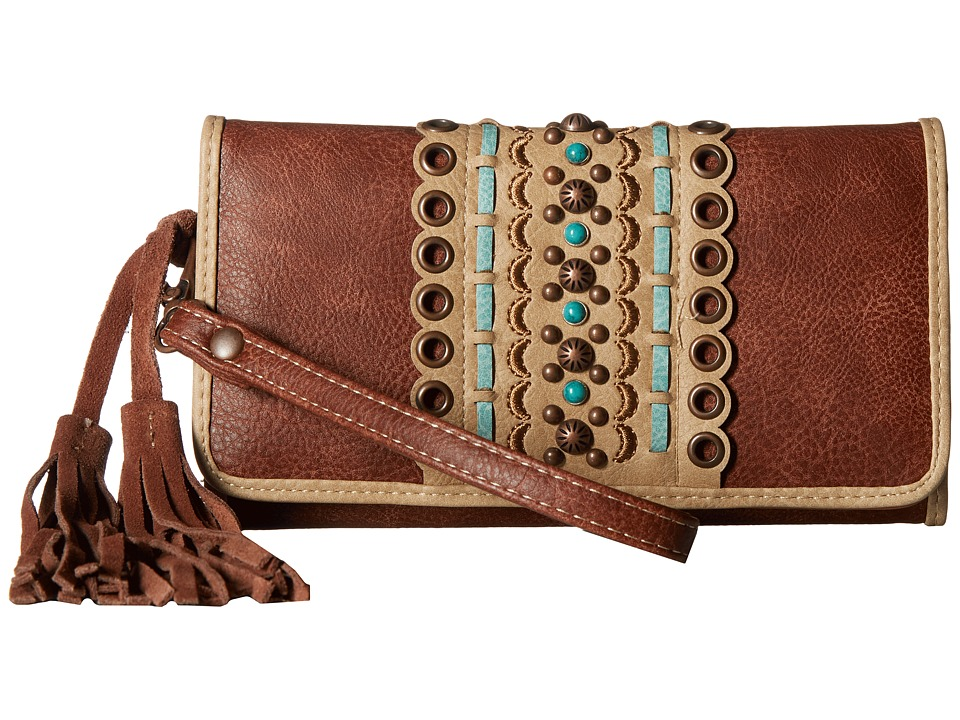 M&F Western - Laney Clutch Wallet (Brown) Wallet Handbags