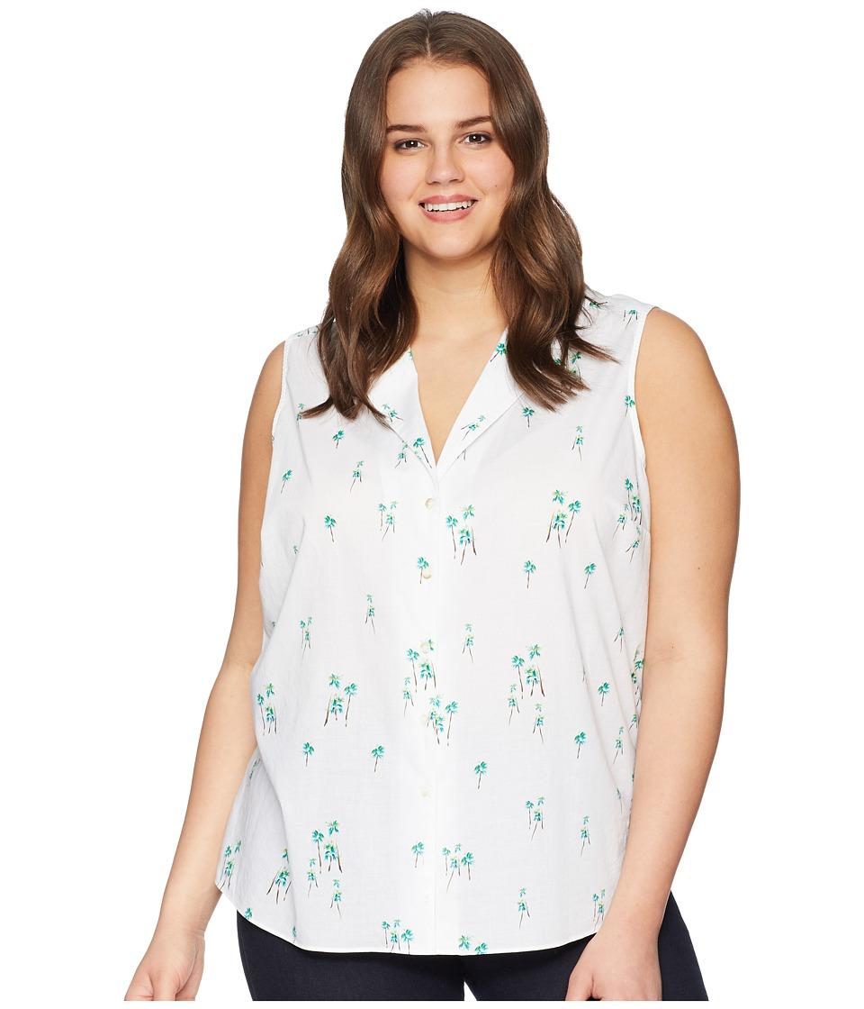 NYDJ Plus Size - Plus Size Sleeveless Button Detail Top (Three Palms Optic White) Womens Sleeveless