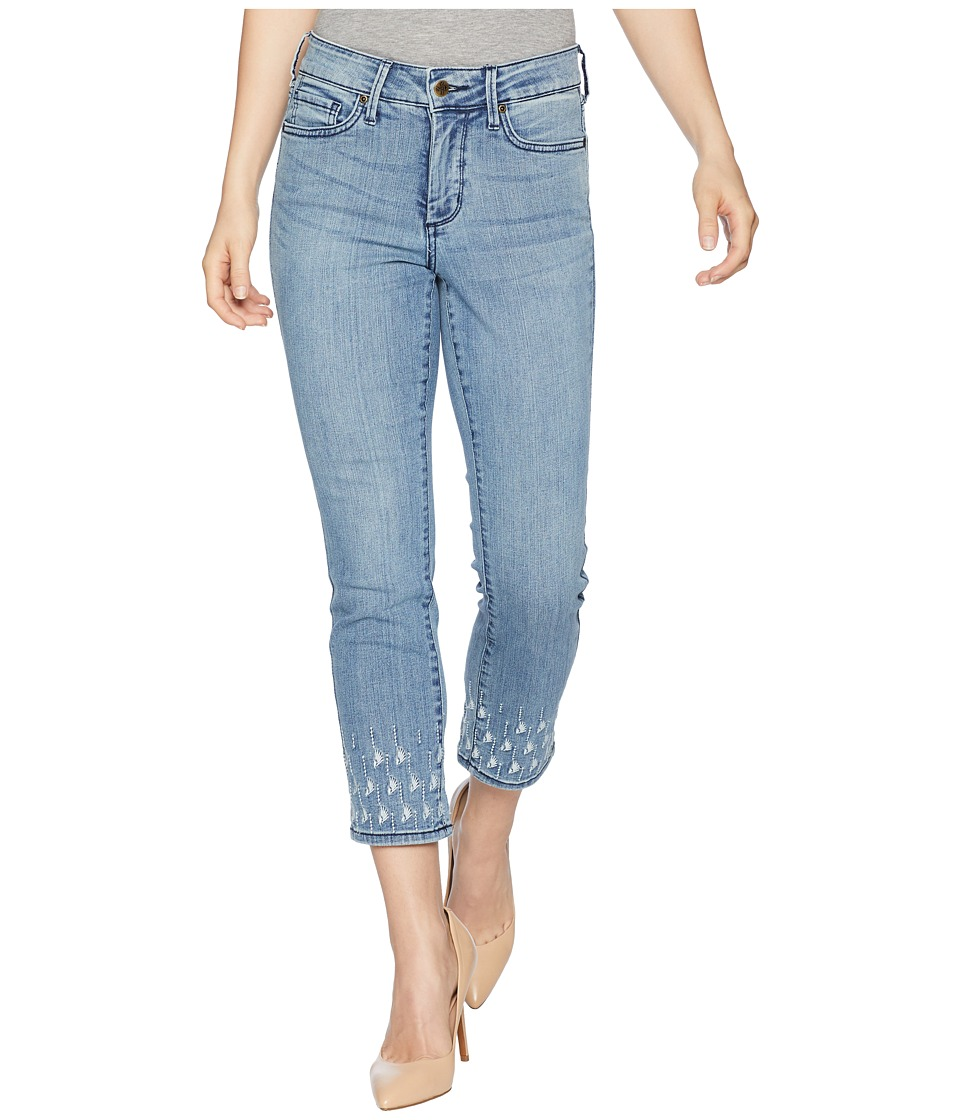 NYDJ Petite - Petite Sheri Slim Ankle Palm Dot Embroidery in Point Dume (Point Dume) Womens Jeans
