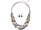 M&F Western M&F Western Multi-Strand Mixed Stone Necklace/Earrings Set