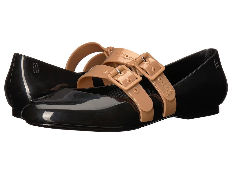 + Melissa Luxury Shoes Vivienne Westwood + Doll Flat (Black/Beige) Women's Shoes