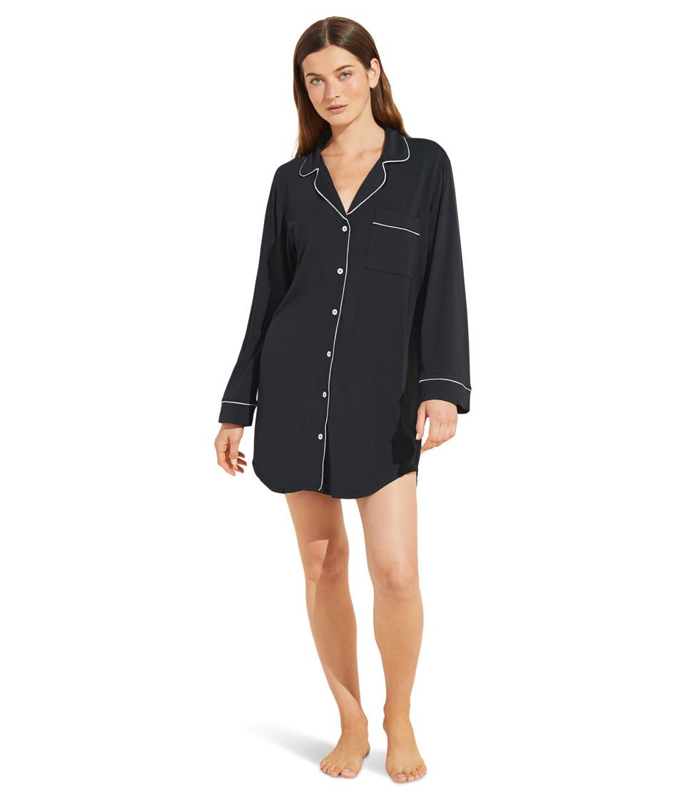 Eberjey - Gisele Nightshirt (Black/Sorbet Pink) Womens Pajama