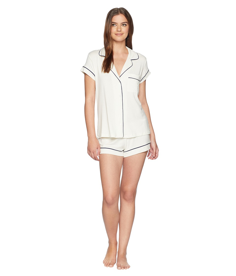 Eberjey - Gisele Basics Short PJ Set (Ivory/Navy) Womens Pajama Sets