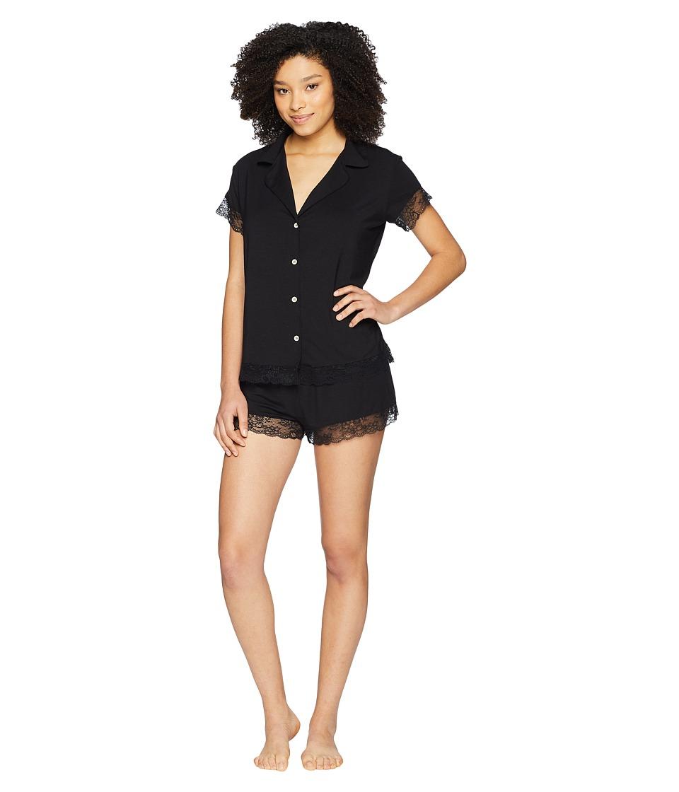 Eberjey - Malou Short Sleeve PJ Set with Lace (Black) Womens Pajama Sets
