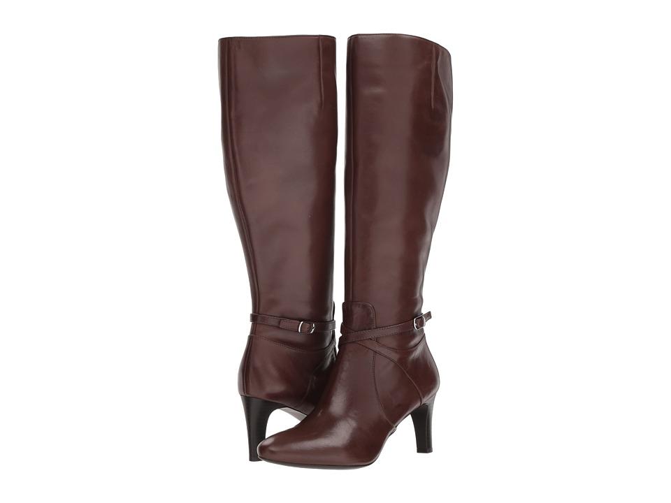 LAUREN Ralph Lauren Elberta Wide Calf (Dark Brown Burnished Calf) Women's Shoes