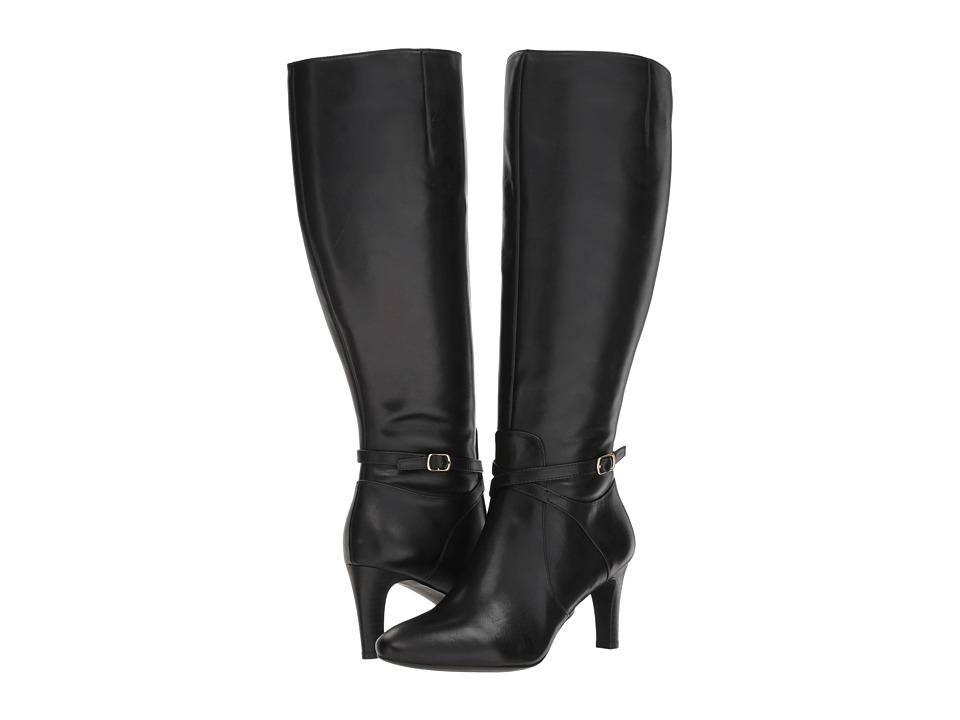 LAUREN Ralph Lauren Elberta Wide Calf (Black Burnished Calf) Women's Shoes