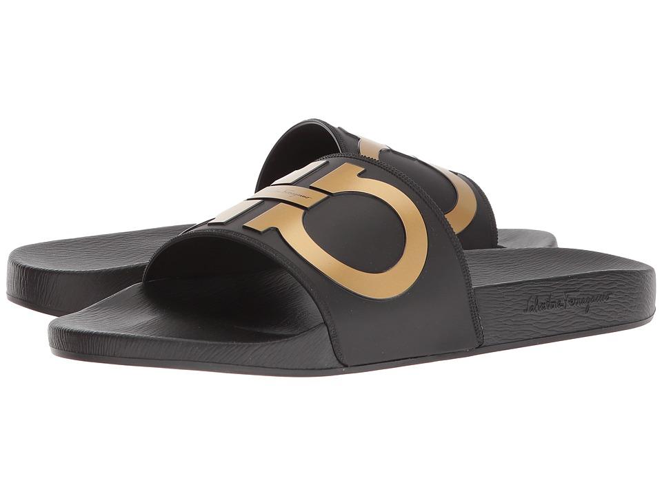 Salvatore Ferragamo - Groove 2 (Black/Gold) Mens Slide Shoes