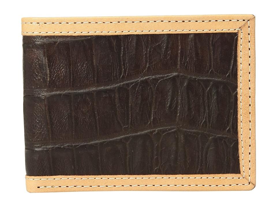 Ariat - Croc Print Bifold Wallet (Brown) Wallet Handbags