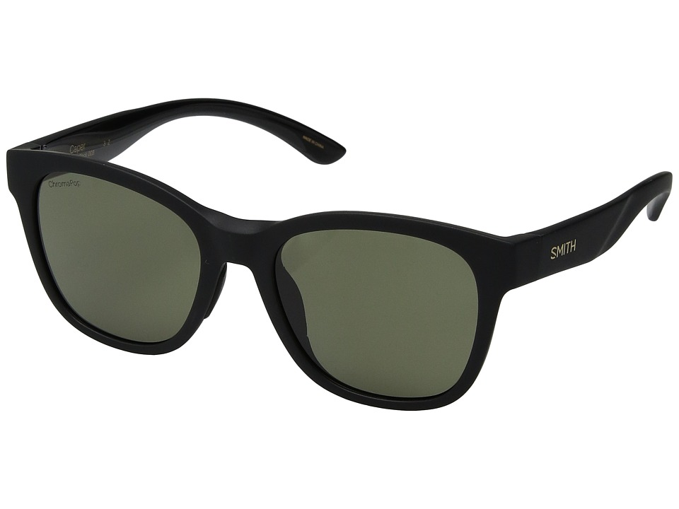 Smith Optics - Caper (Matte Black/Gray Green ChromaPoptm Polarized Lens) Athletic Performance Sport Sunglasses