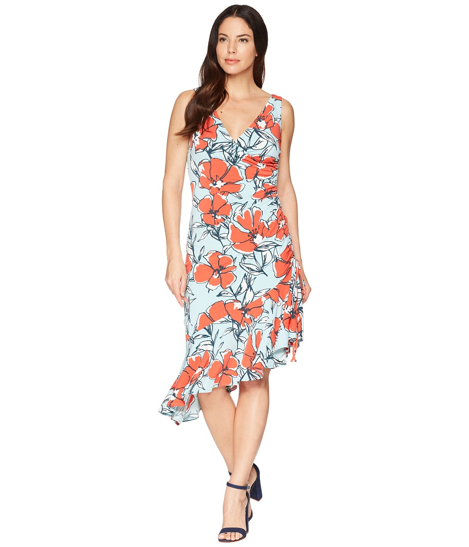 Maggy London - Sketch Poppy Printed Jersey Side Ruched Dress (Aqua/Bright Orange) Womens Dress