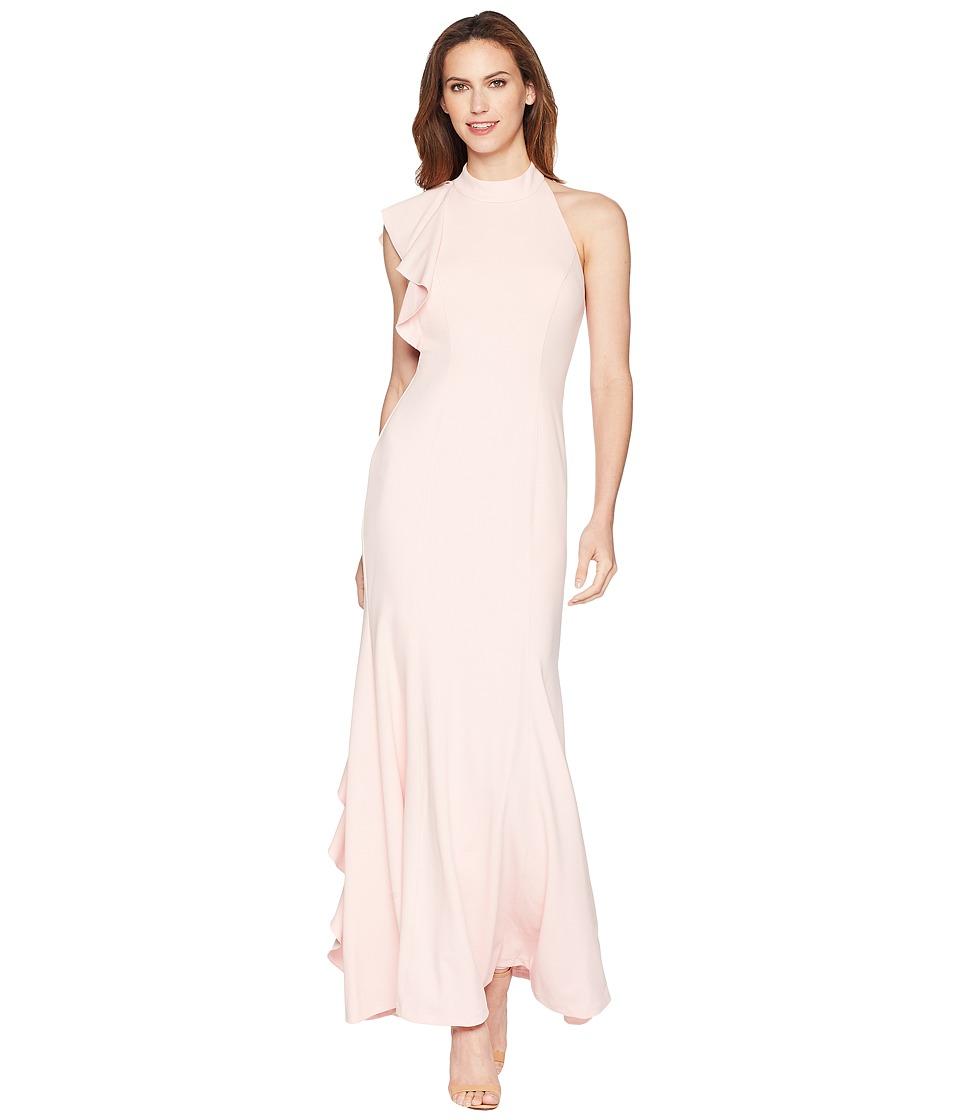 Adrianna Papell Halter Ruffle Mermaid Dress (Pale Shell) ...