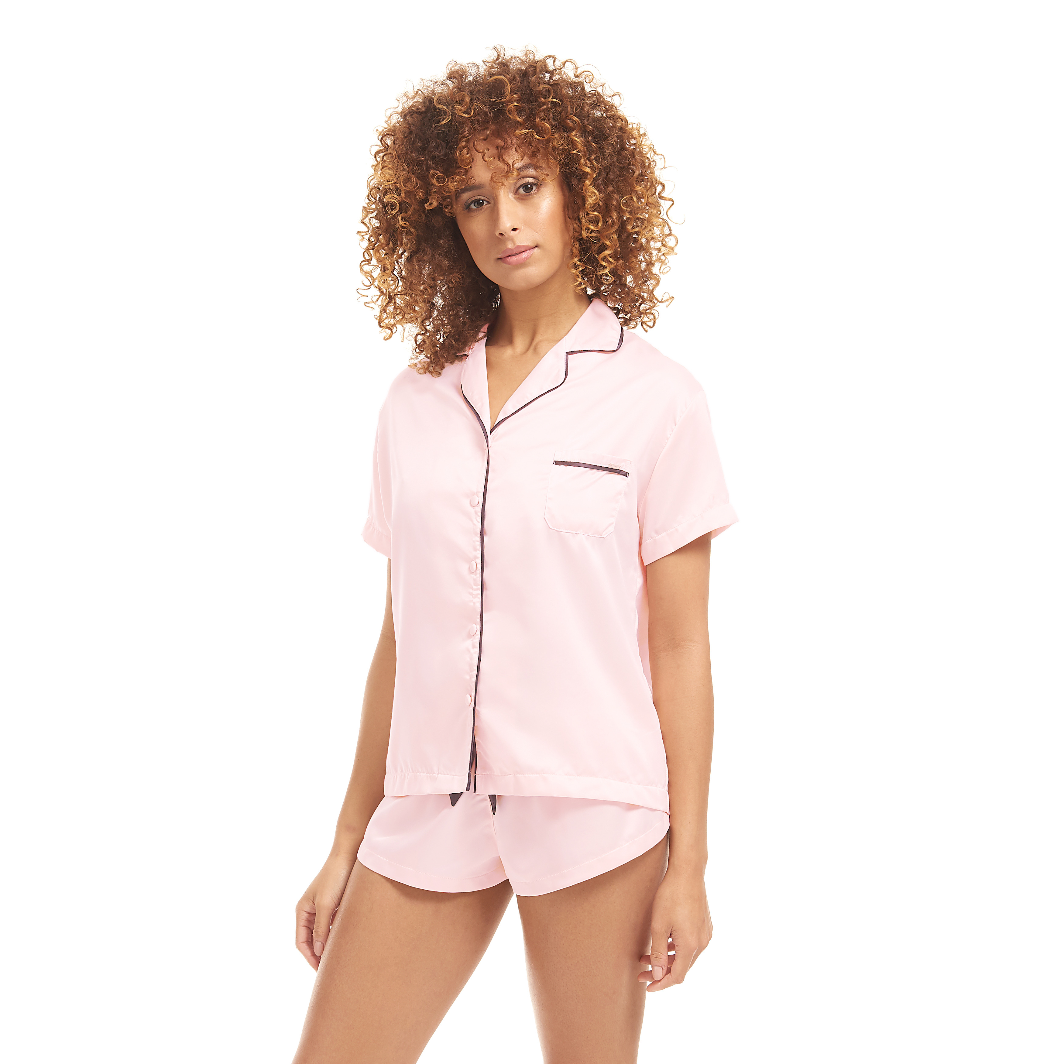 BLUEBELLA - Abigail Shirt and Shorts (Pale Pink/Black) Womens Pajama Sets