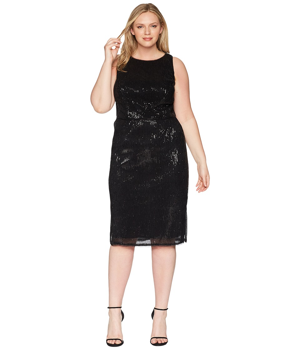 Adrianna Papell Plus Size Halter Pleated Sequin Dress (Black ...