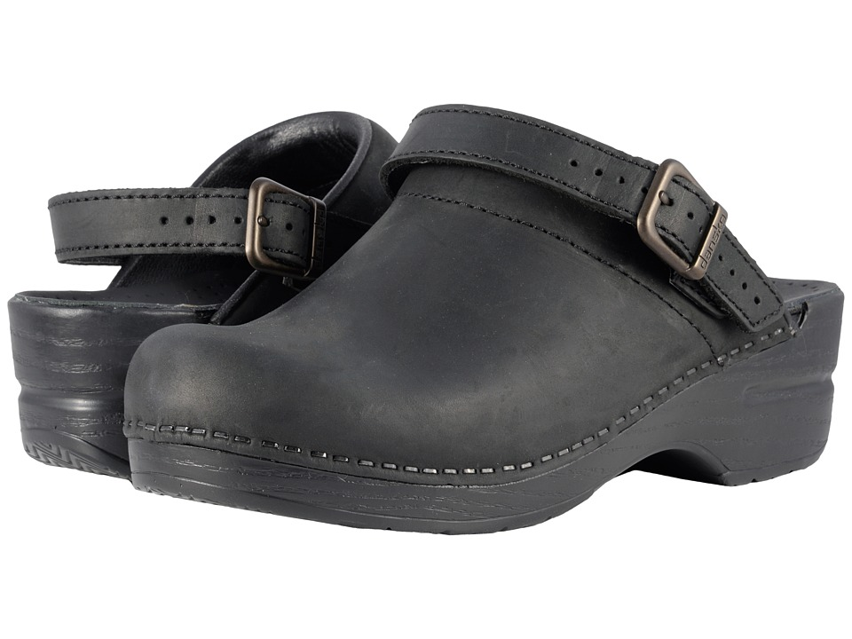 Dansko Ingrid Black Oiled Womens Clog Shoes
