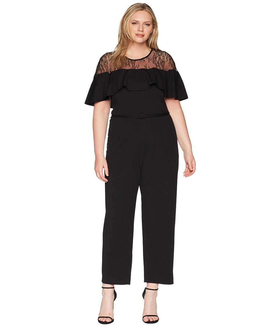 Adrianna Papell Plus Size Illusion Neckline Jumpsuit (Bla...