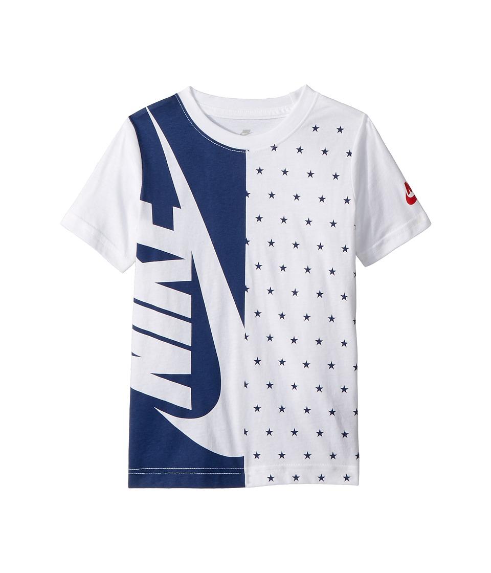 Nike Kids - Split Futura Cotton Tee (Little Kids) (White/Navy) Boys T Shirt