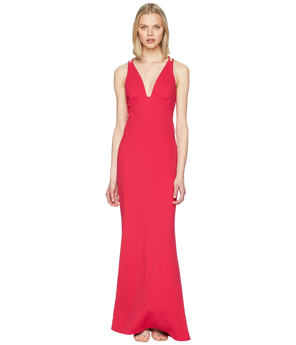 Badgley Mischka - V-Neck Lightweight Crepe Gown (Fuchsia) Womens Dress