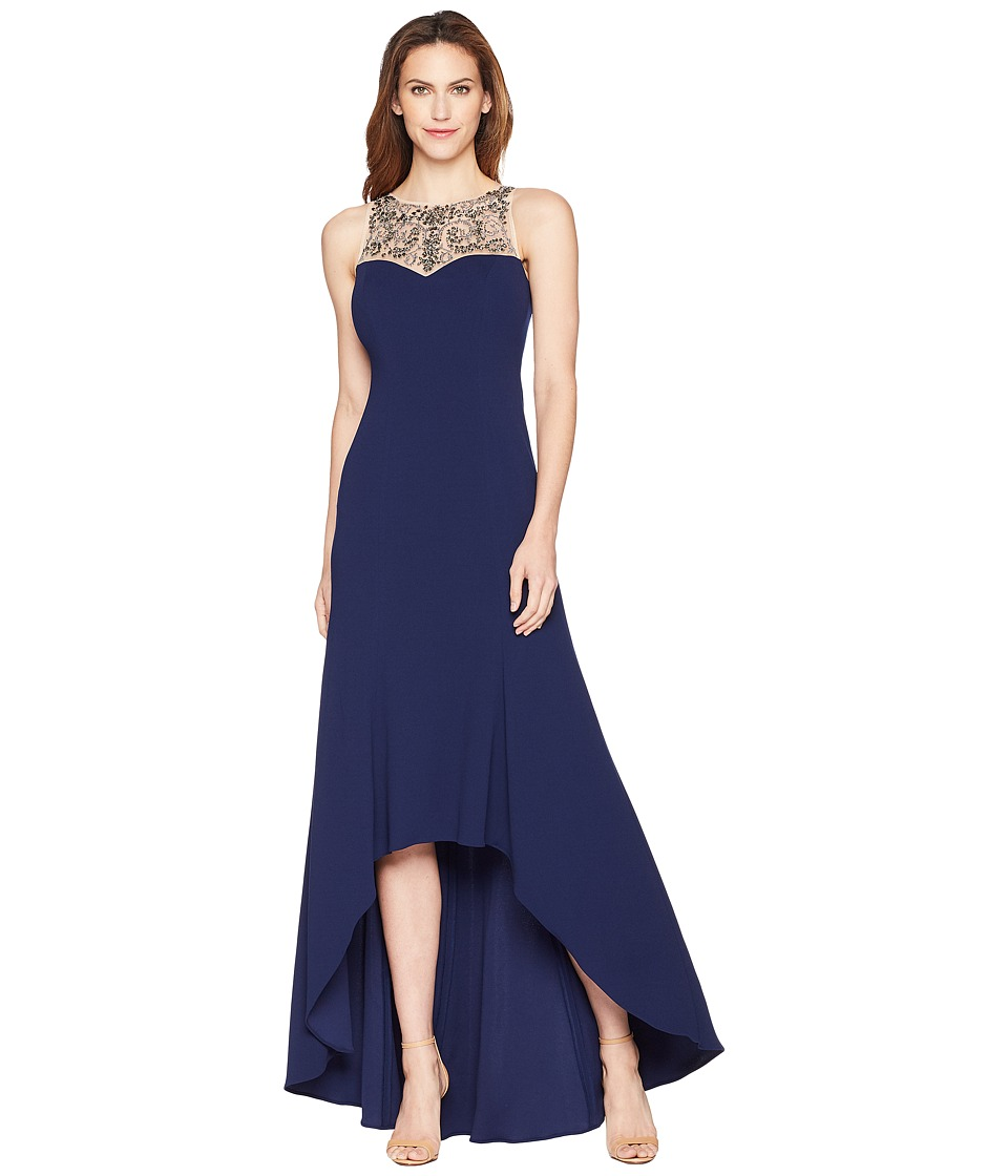 Adrianna Papell Beaded Crepe Gown (Light Navy) Women\'s Dress from ...