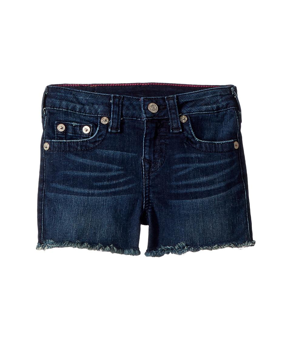 True Religion Kids - Joey Raw Shorts in Ocean Blue (Toddler/Little Kids) (Ocean Blue) Girls Shorts