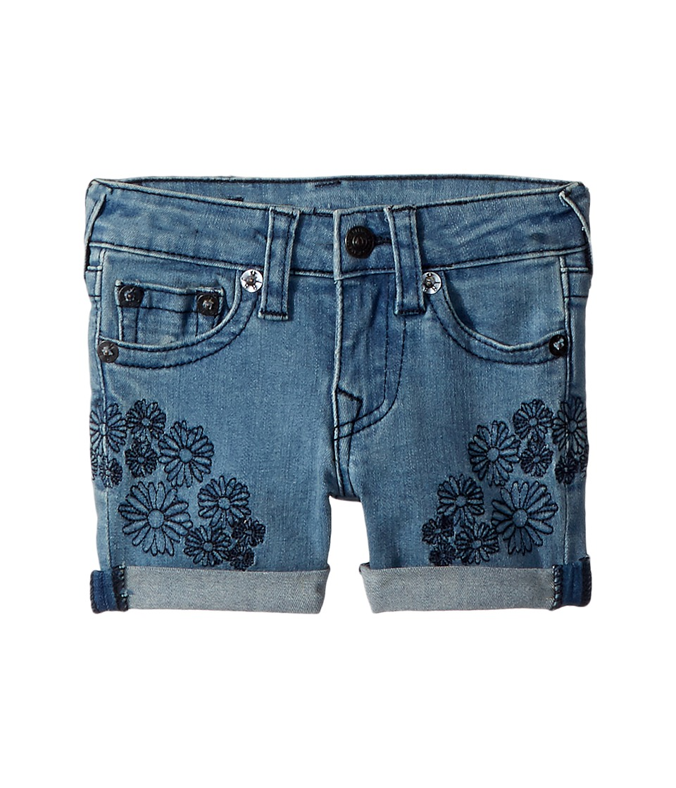 True Religion Kids - Bobby Embroidered in Daisy Blue (Toddler/Little Kids) (Daisy Blue) Girls Shorts