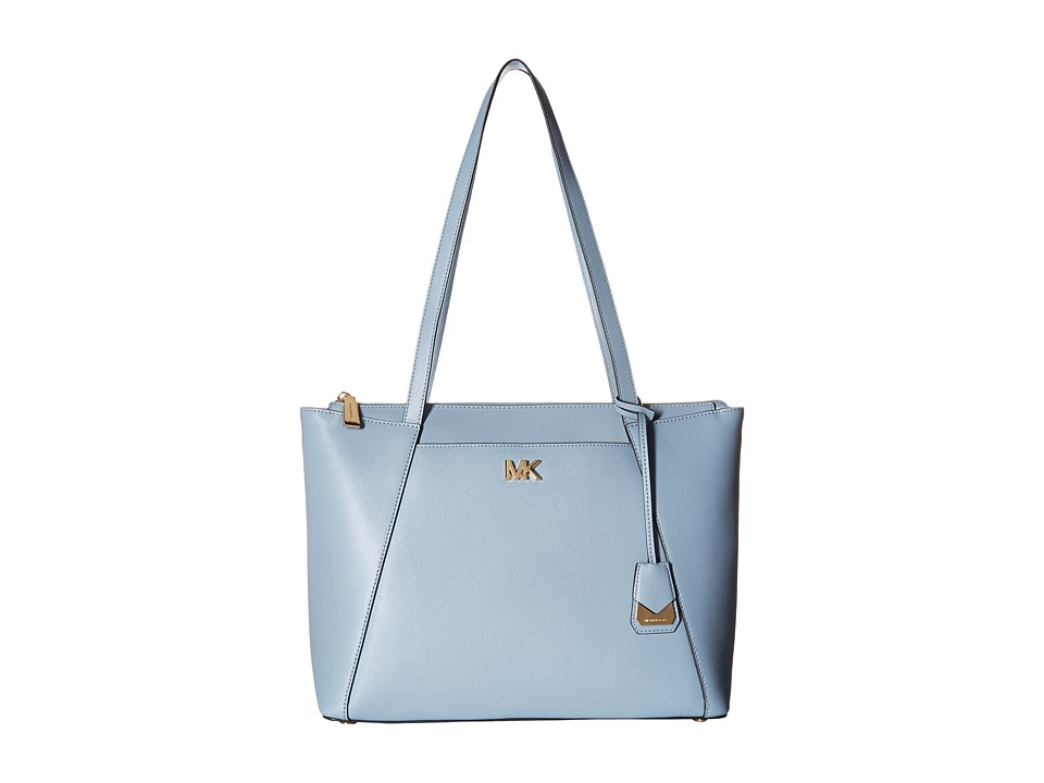 Michael Kors Mad Medium E W Top Zip Tote Pale Blue Handbags