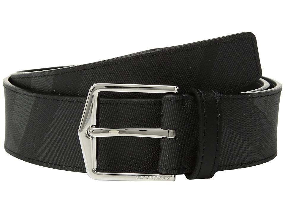 Burberry - Joe London Check Belt (Charcoal/Black) Mens Belts