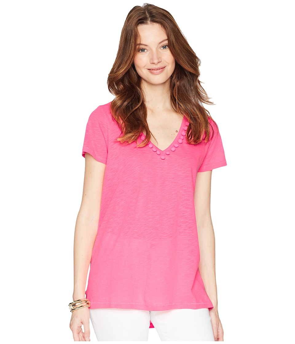 Lilly Pulitzer - Etta Top w/ Pom-Pom Trim (Cosmic Coral) Womens T Shirt