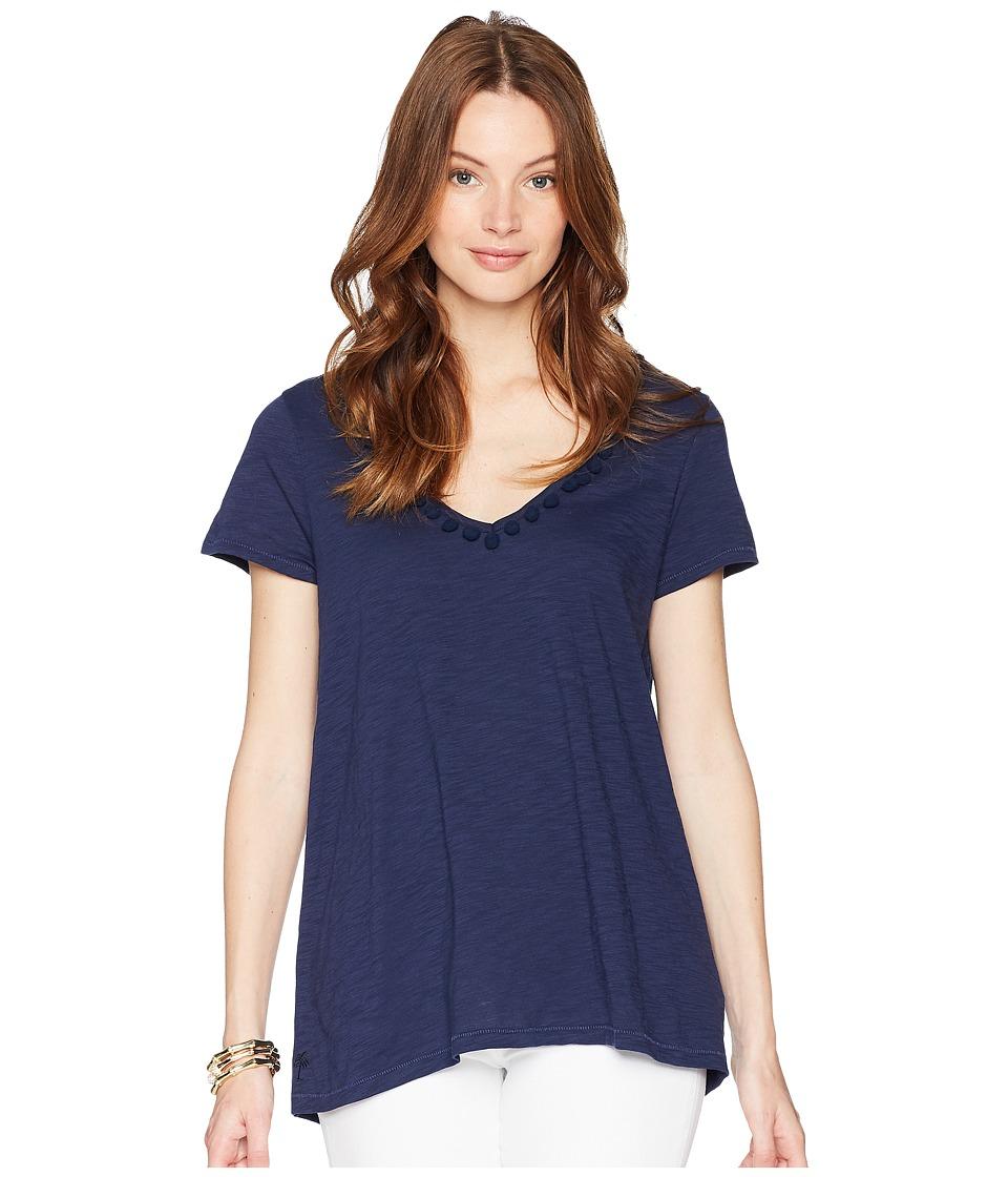 Lilly Pulitzer - Etta Top w/ Pom-Pom Trim (True Navy) Womens T Shirt