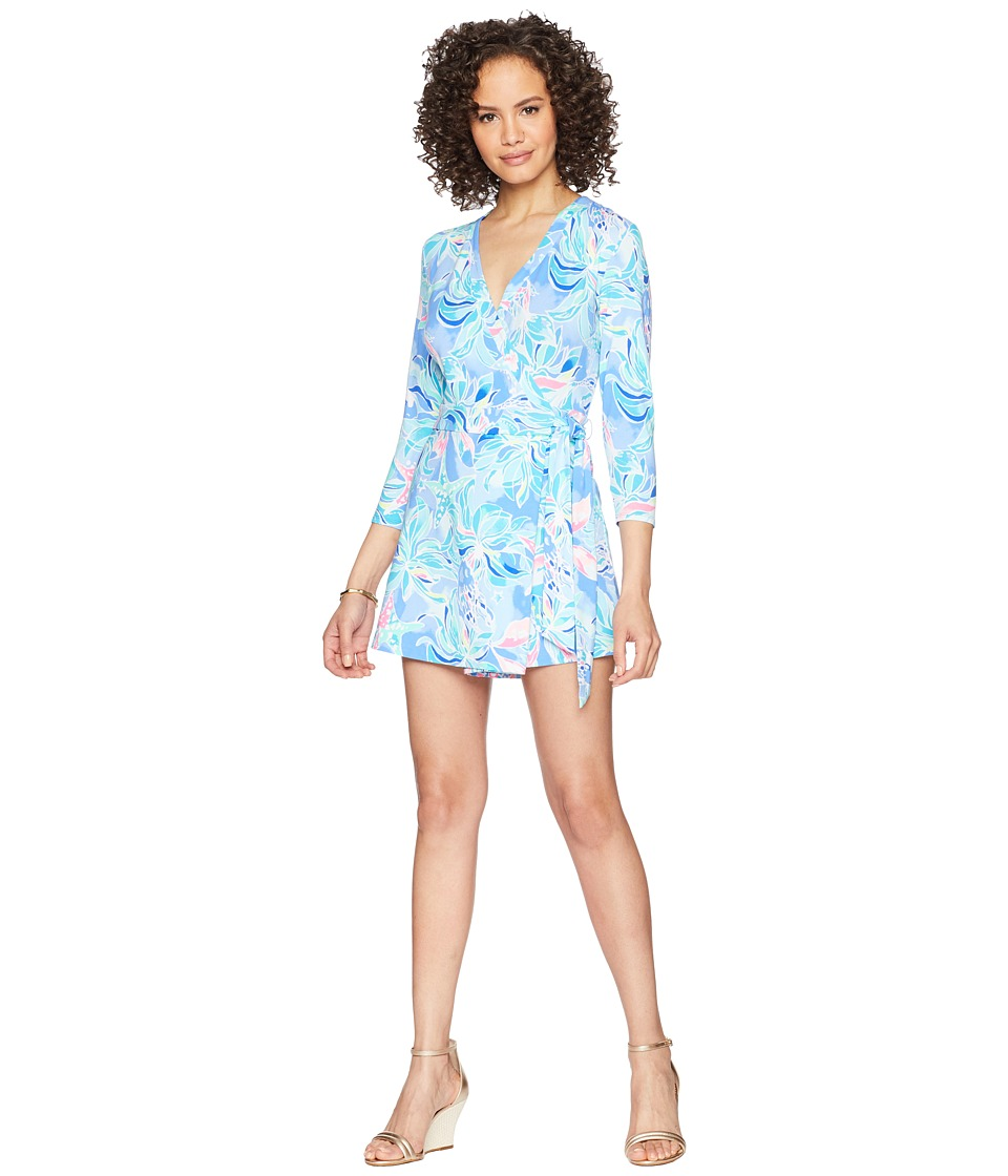 Lilly Pulitzer - Karlie Wrap Romper (Bennet Blue Celestial Seas) Womens Jumpsuit & Rompers One Piece
