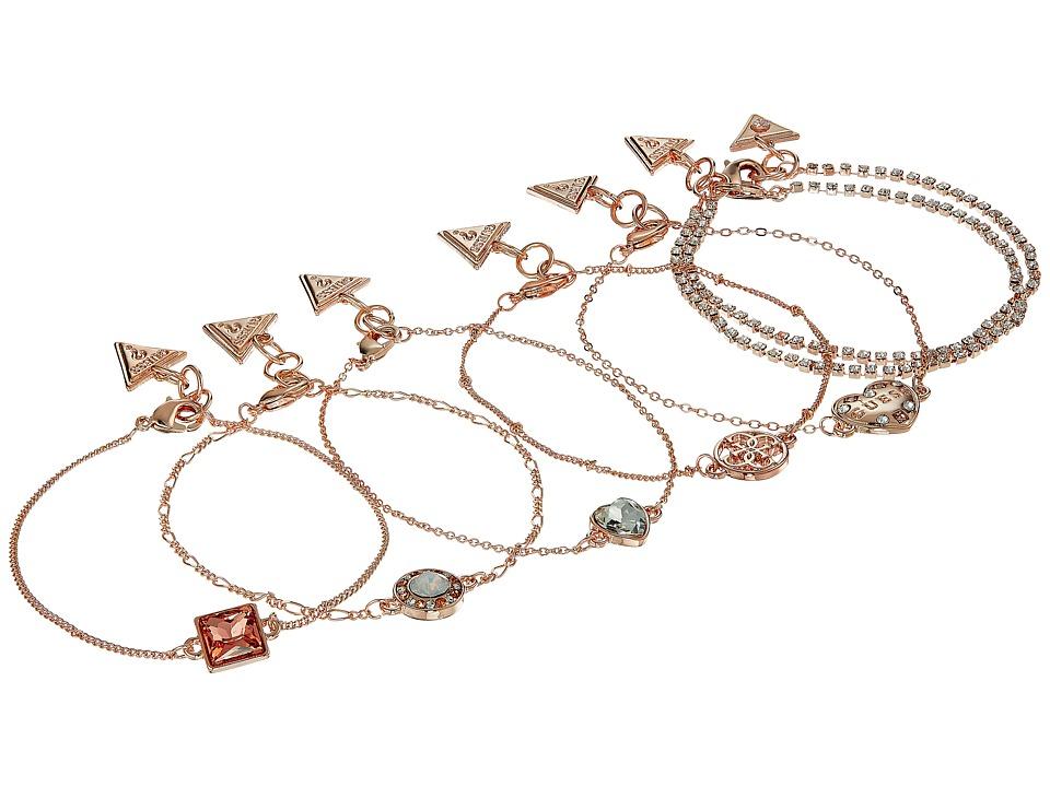 GUESS - Set of 7 Dainty Logo Bracelets (Rose Gold/Crystal) Bracelet