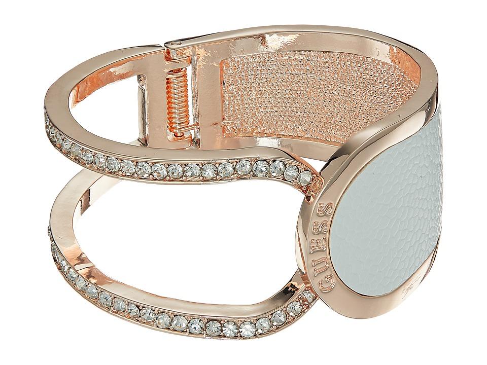 GUESS - Hinged Logo Cuff Bracelet (Rose Gold/Crystal) Bracelet