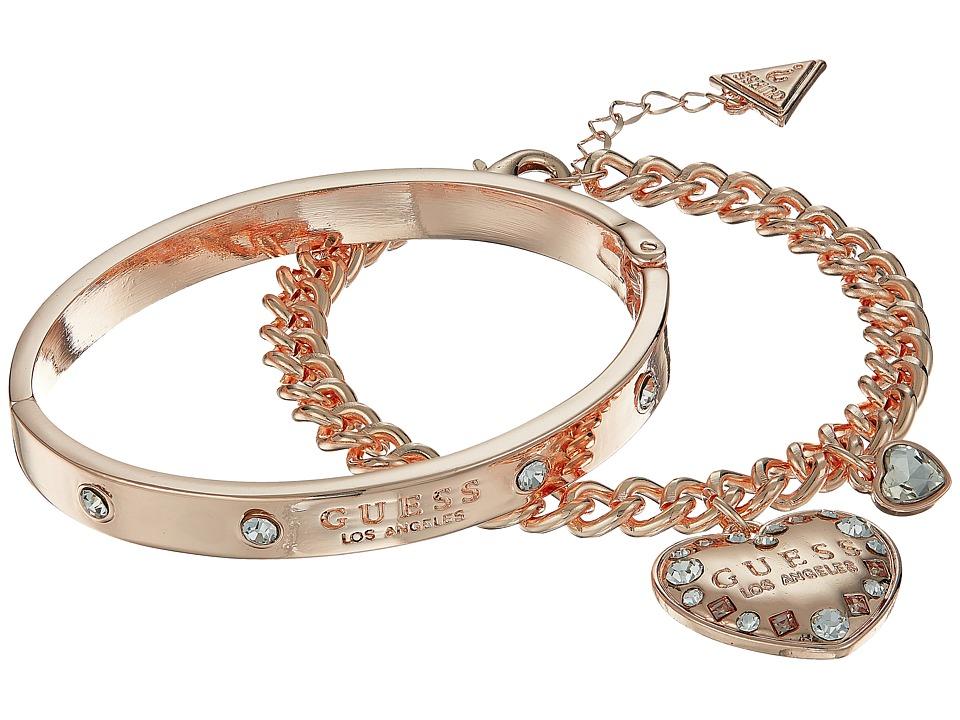 GUESS - Logo Charm Bracelet and Logo Bangle Duo (Rose Gold/Crystal) Bracelet