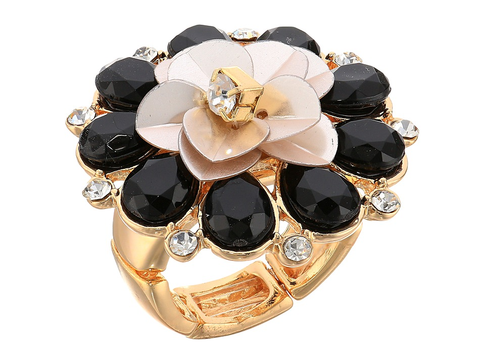 GUESS - Flower Cocktail Ring (Gold/Jet/Ivory) Ring