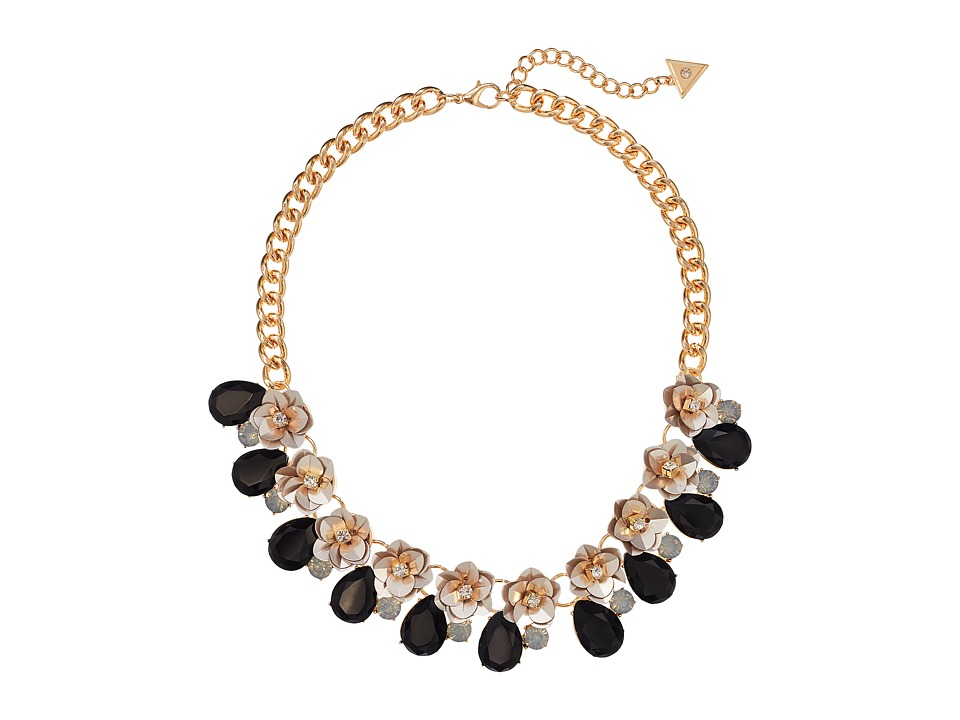 GUESS - Floral Motif Collar Necklace with Stone Accents (Gold/Jet/Ivory) Necklace